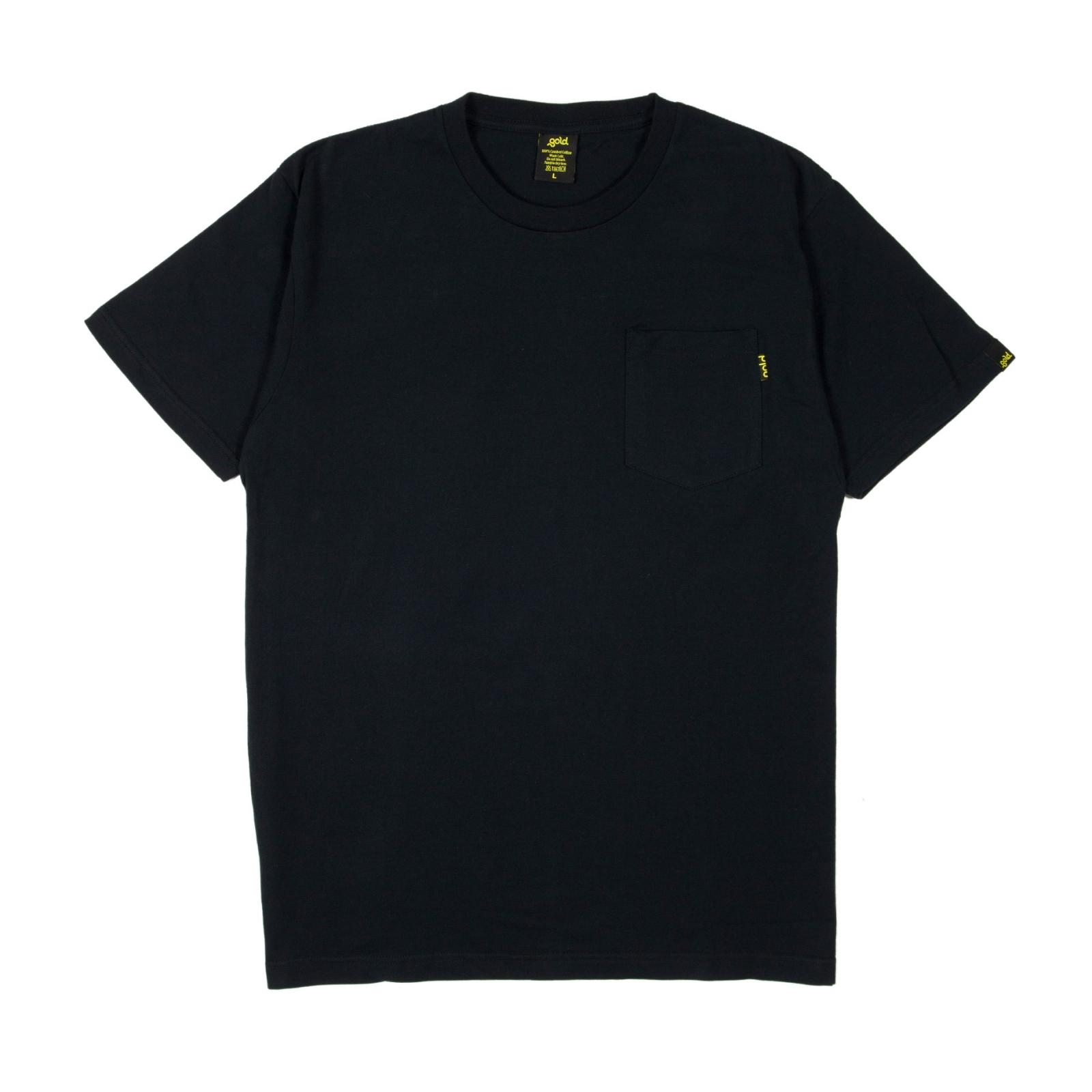 size 40 6ed88 ce32a Gold T-Shirt Uomo Nera con taschino nero