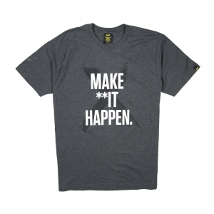 "Gold | T-shirt Grigio Scuro ""Make **it Happen"""