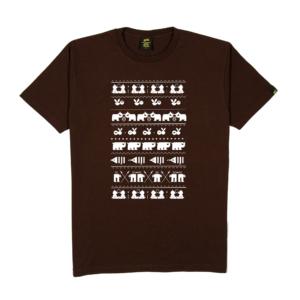 Gold-T-Shirt-Uomo-marrone-happy-pattern