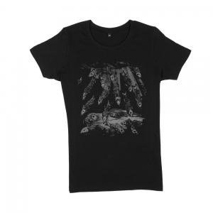 Massimo-Volume-T-Shirt-Donna-Nera-Fishes