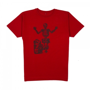 Massimo-Volume-T-Shirt-Uomo-Rossa-Bones